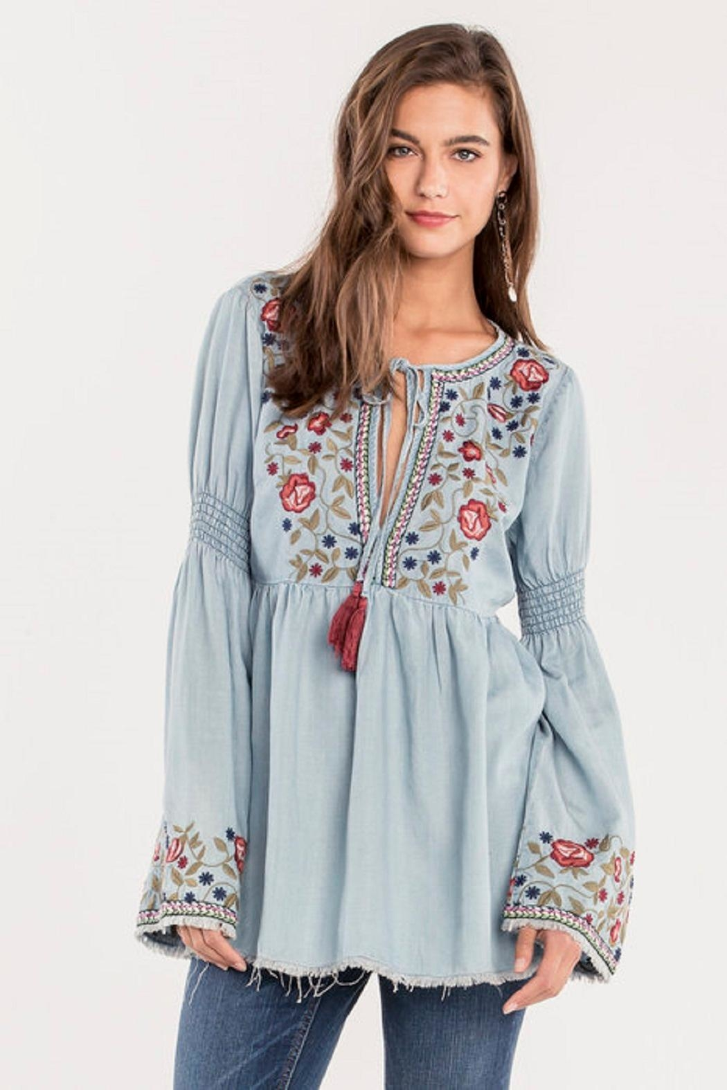 Miss Me Denim Embroidered Top - Main Image