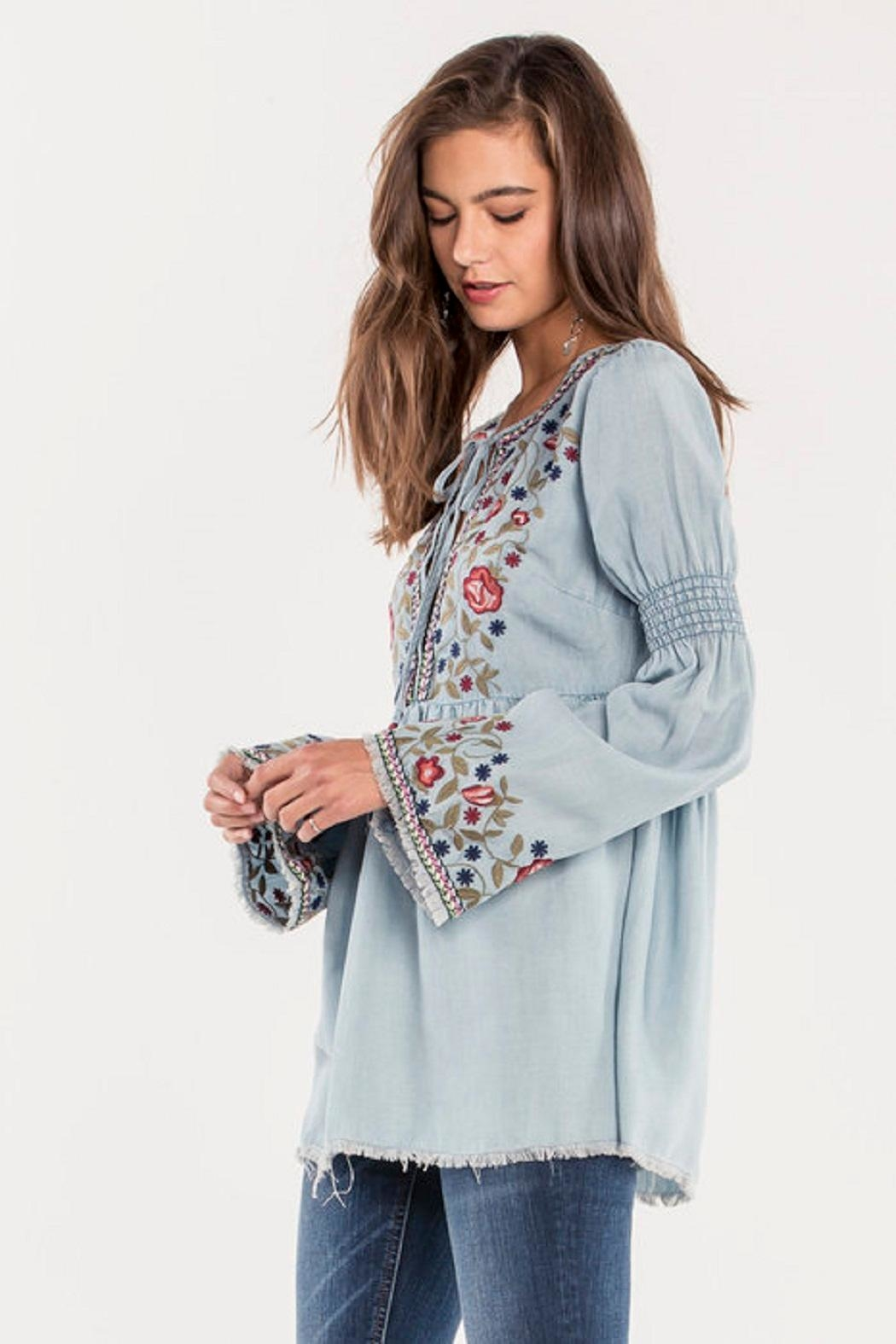 Miss Me Denim Embroidered Top - Front Full Image