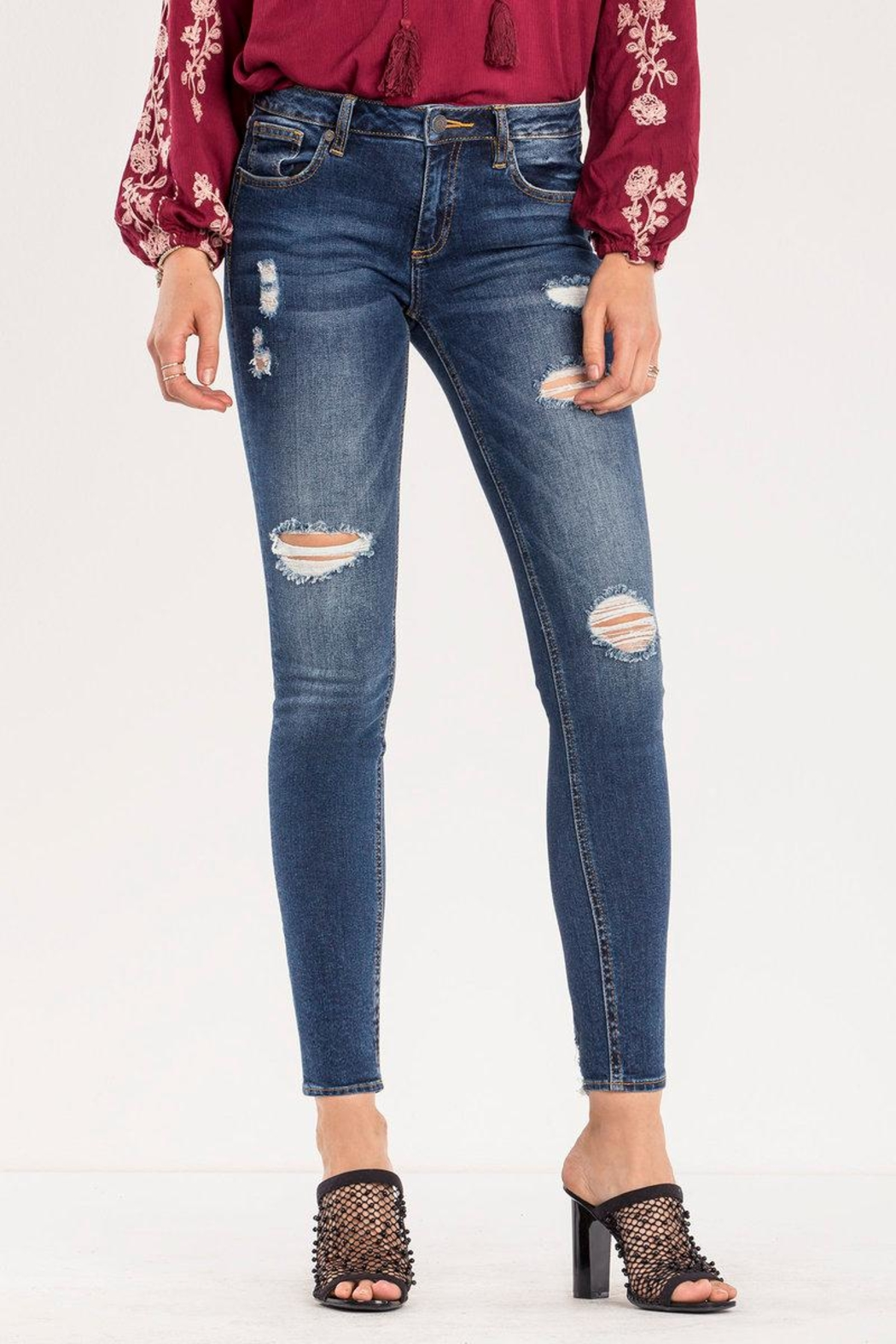 Miss Me Destructed Mid-rise Skinny Jeans - Main Image