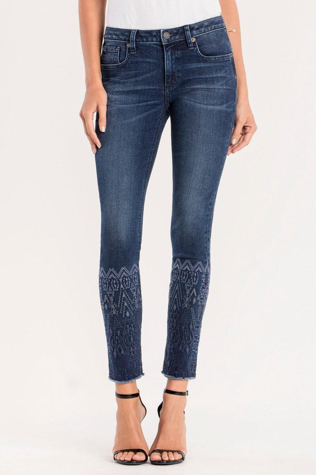 Miss Me Embroidered Ankle Skinny Jeans - Main Image