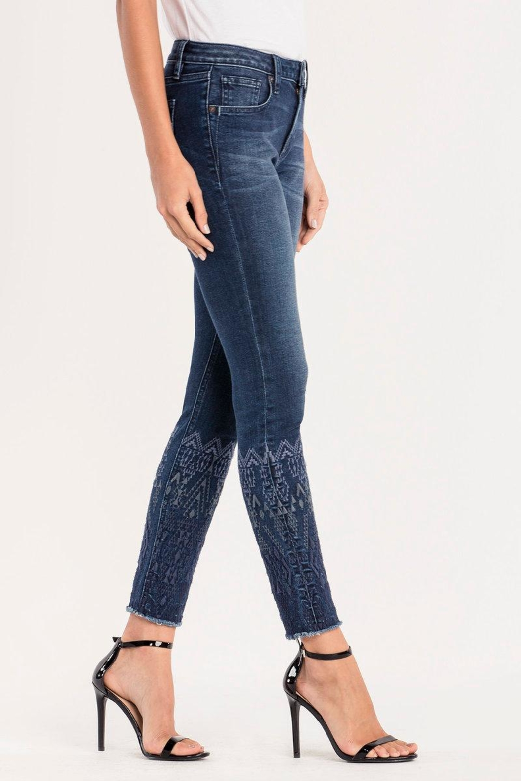 Miss Me Embroidered Ankle Skinny Jeans - Front Full Image