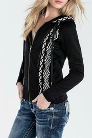 Miss Me Embroidered Floral Hoodie - Front full body
