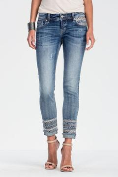 Miss Me Embroidered Frayed Bottom Jeans - Product List Image