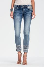 Miss Me Embroidered Frayed Bottom Jeans - Product Mini Image