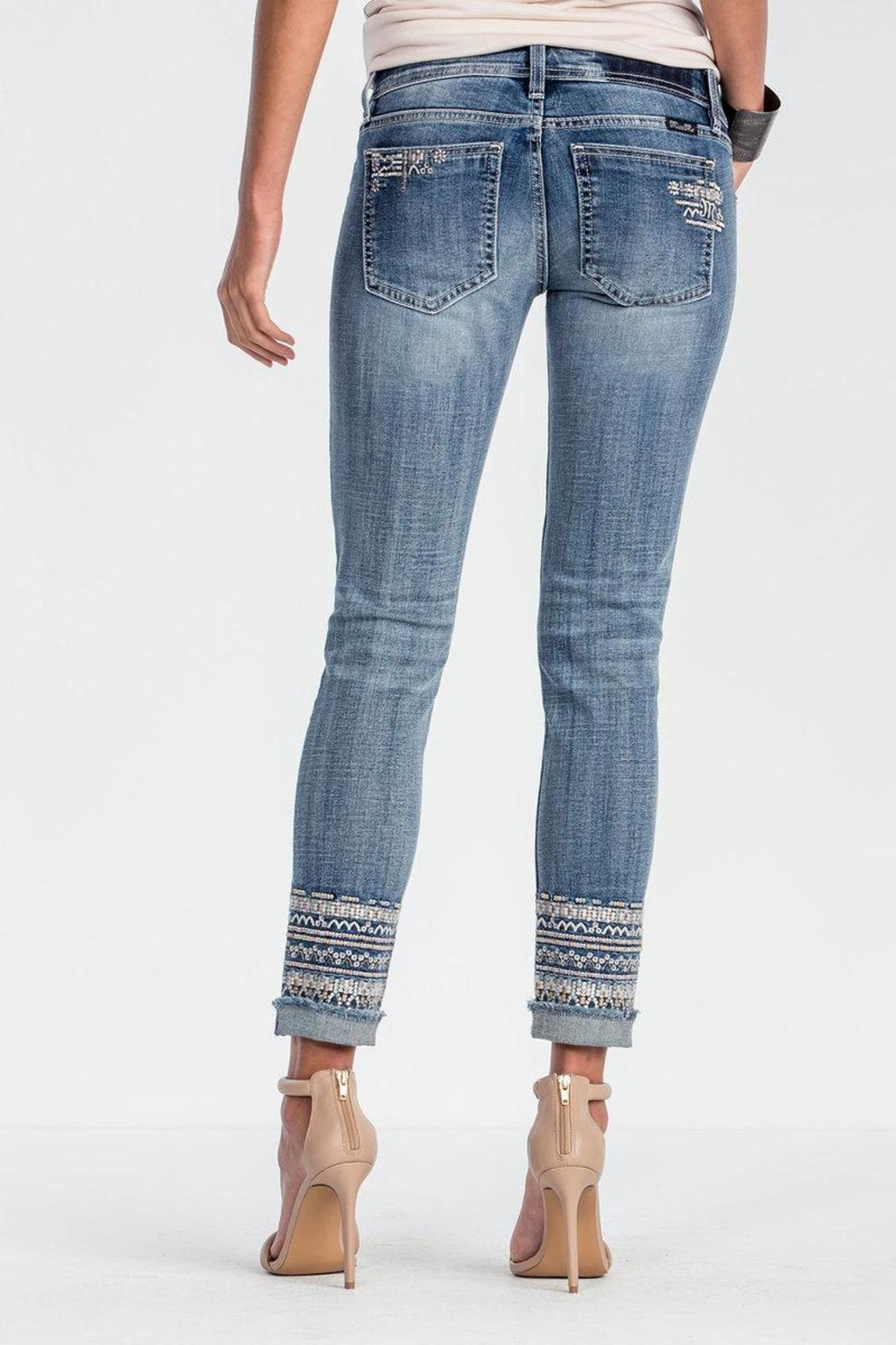 Miss Me Embroidered Frayed Bottom Jeans From Massachusetts