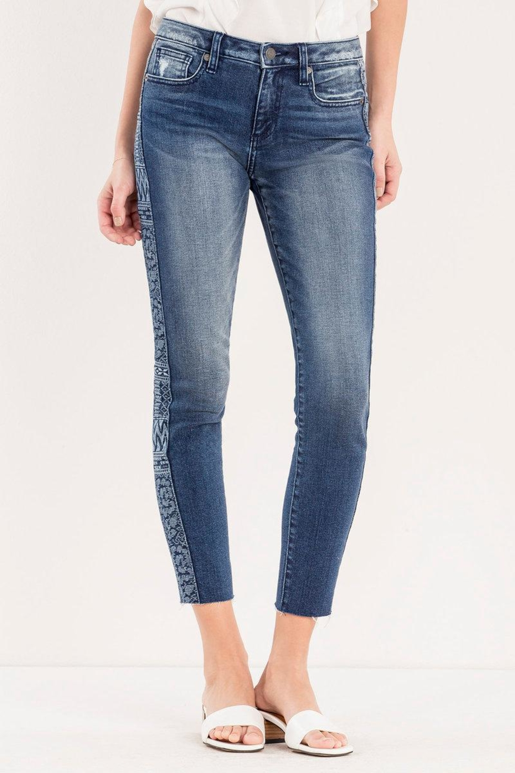 Miss Me Embroidered Side-Seam Ankle-Skinny - Front Full Image