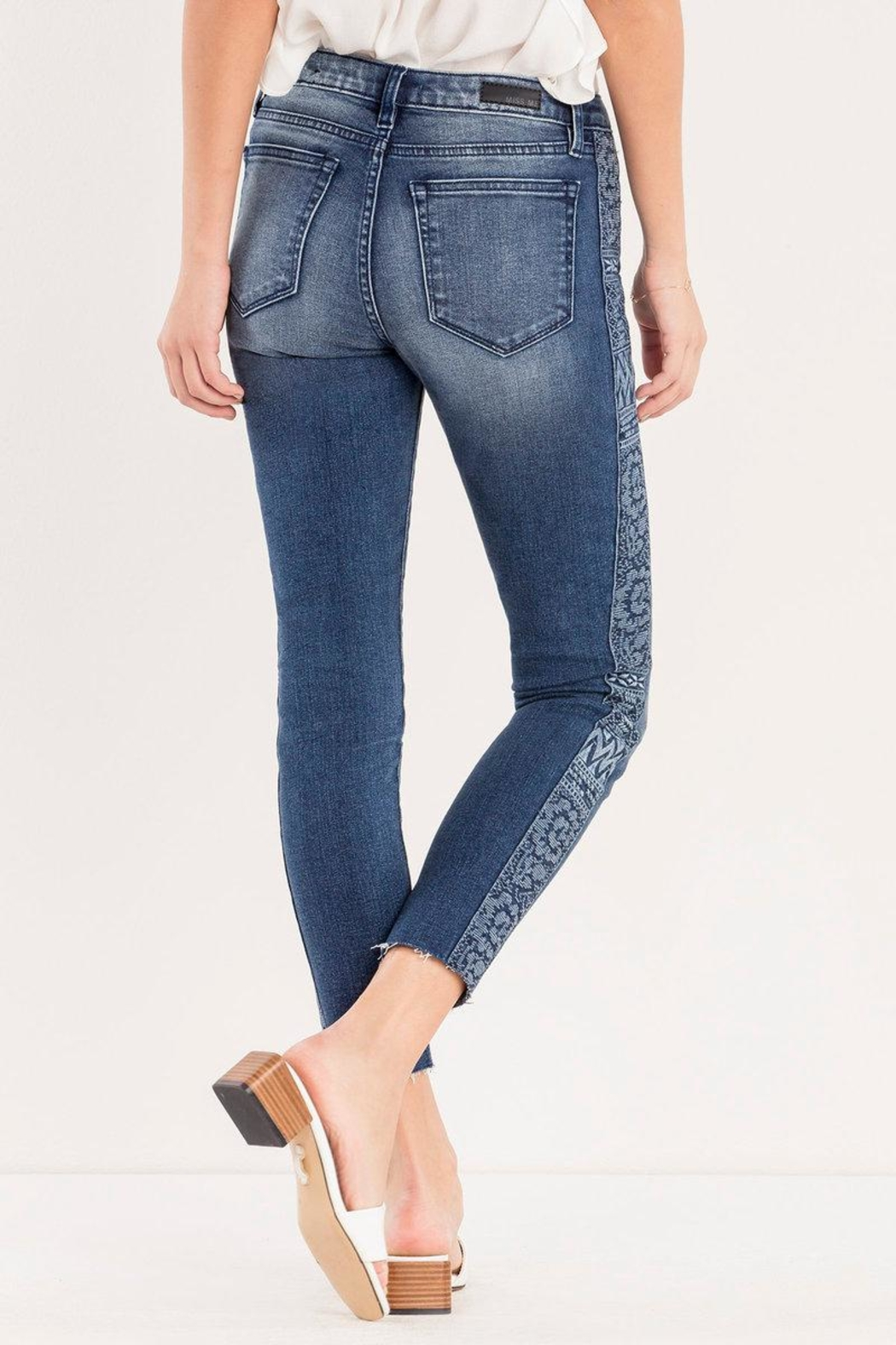 Miss Me Embroidered Side-Seam Ankle-Skinny - Side Cropped Image