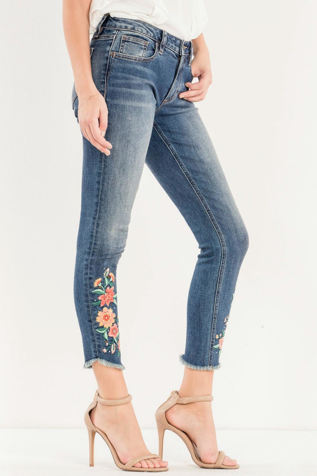 Miss Me Embroidered Skinny Jean - Front Full Image