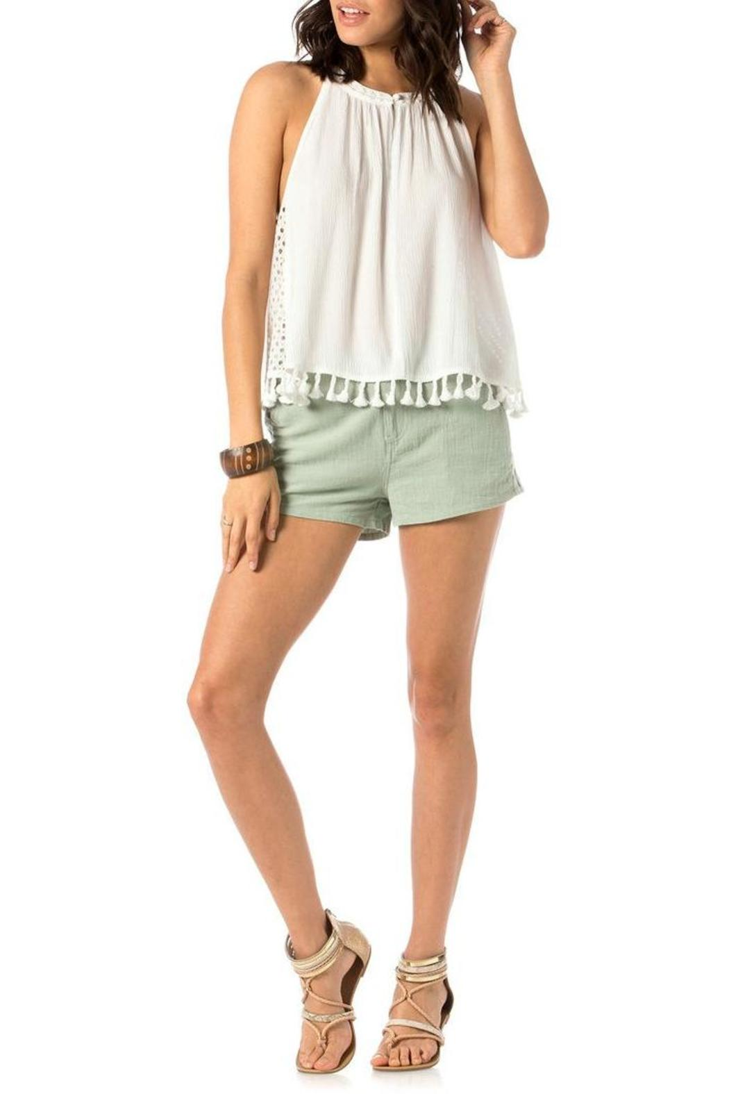 Miss Me Embroidered Trouser Shorts - Back Cropped Image