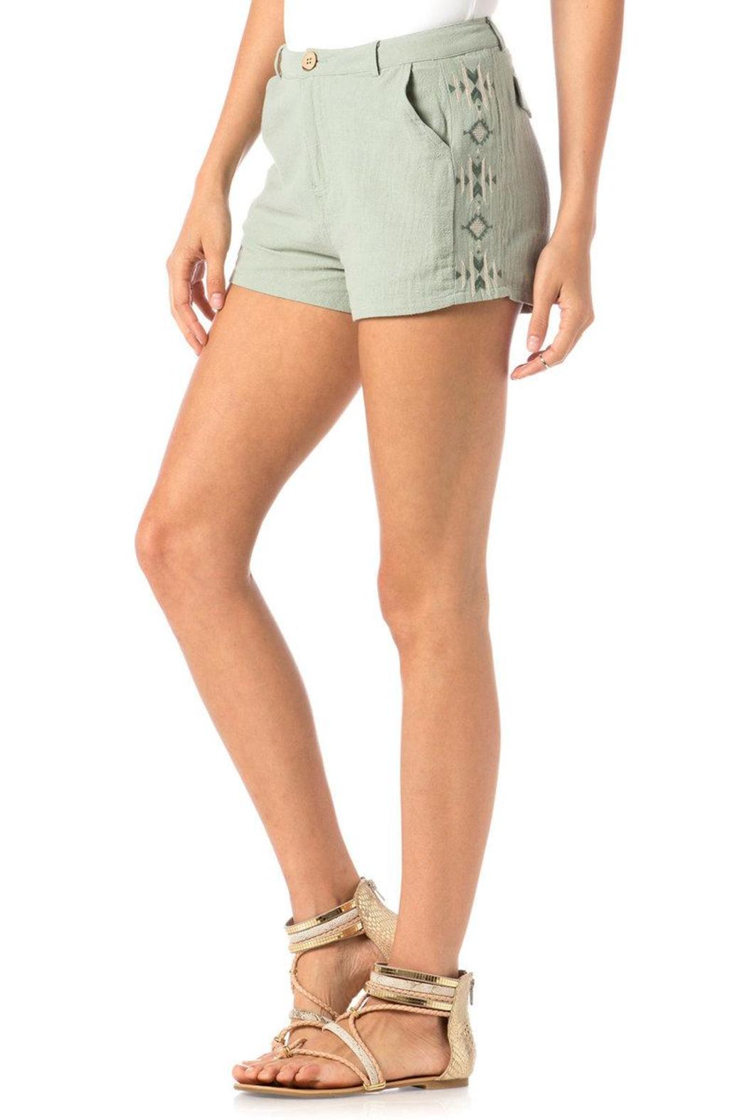 Miss Me Embroidered Trouser Shorts - Front Cropped Image