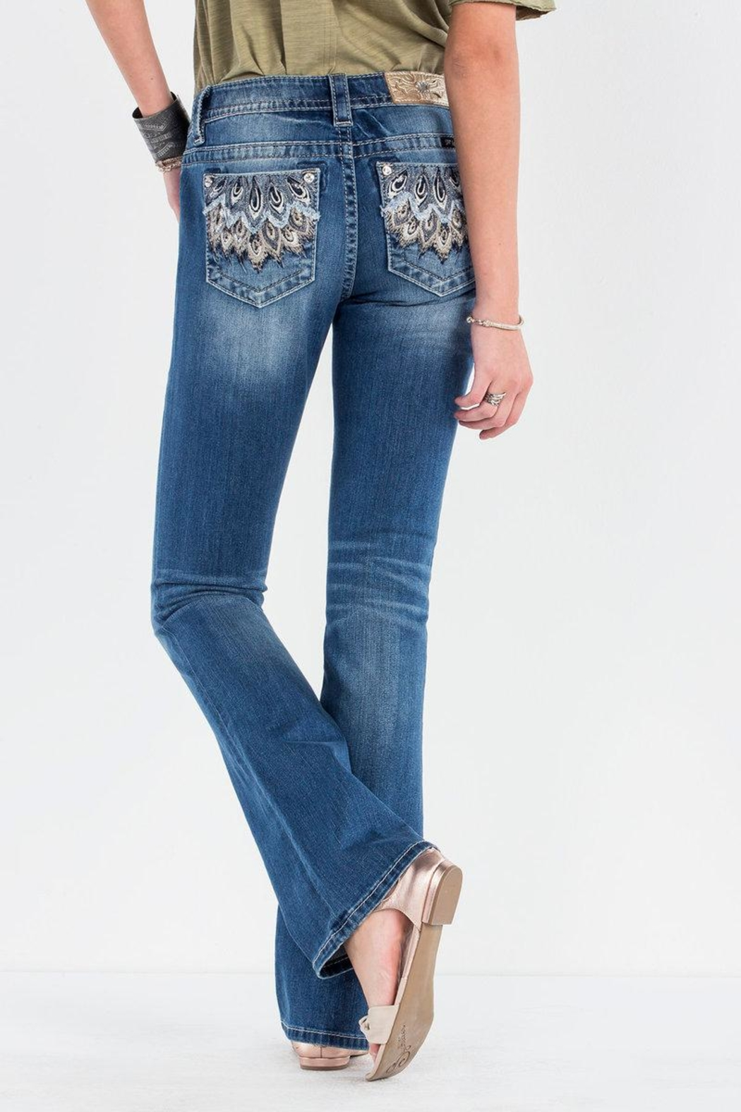 Miss Me Feather Falls Bootcut Jeans - Front Cropped Image