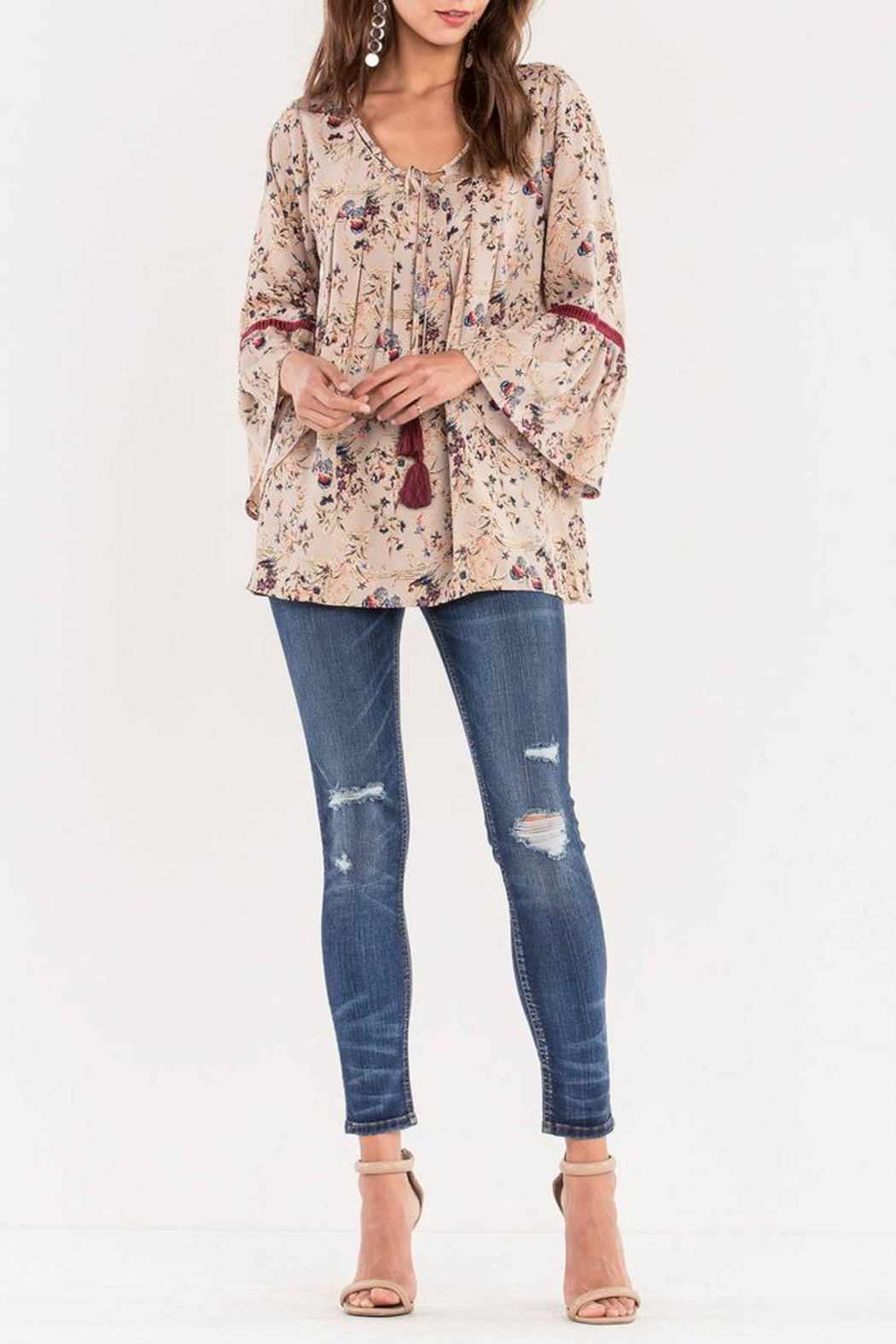 Miss Me Floral Bell Blouse - Main Image