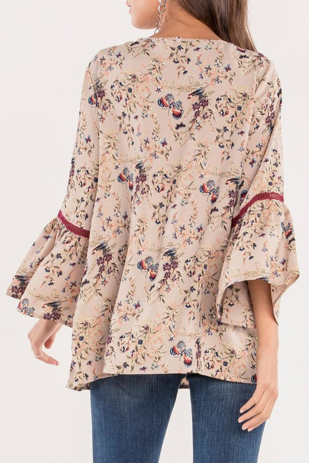 Miss Me Floral Bell Blouse - Side Cropped Image