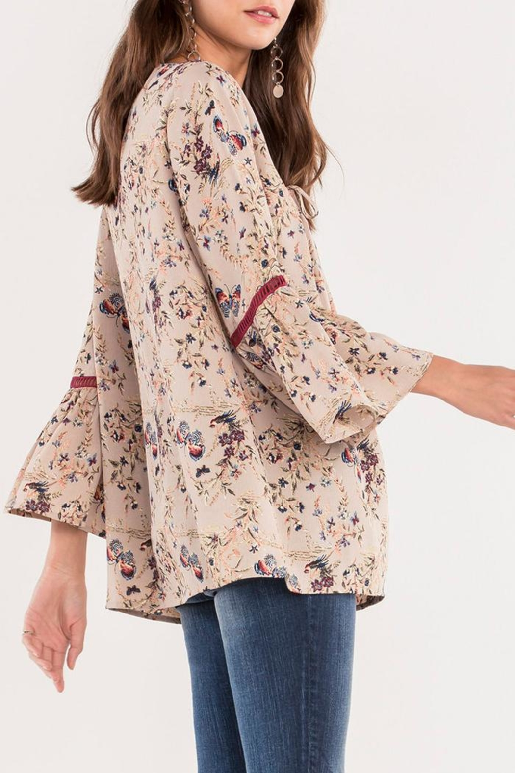 Miss Me Floral Bell Blouse - Front Full Image