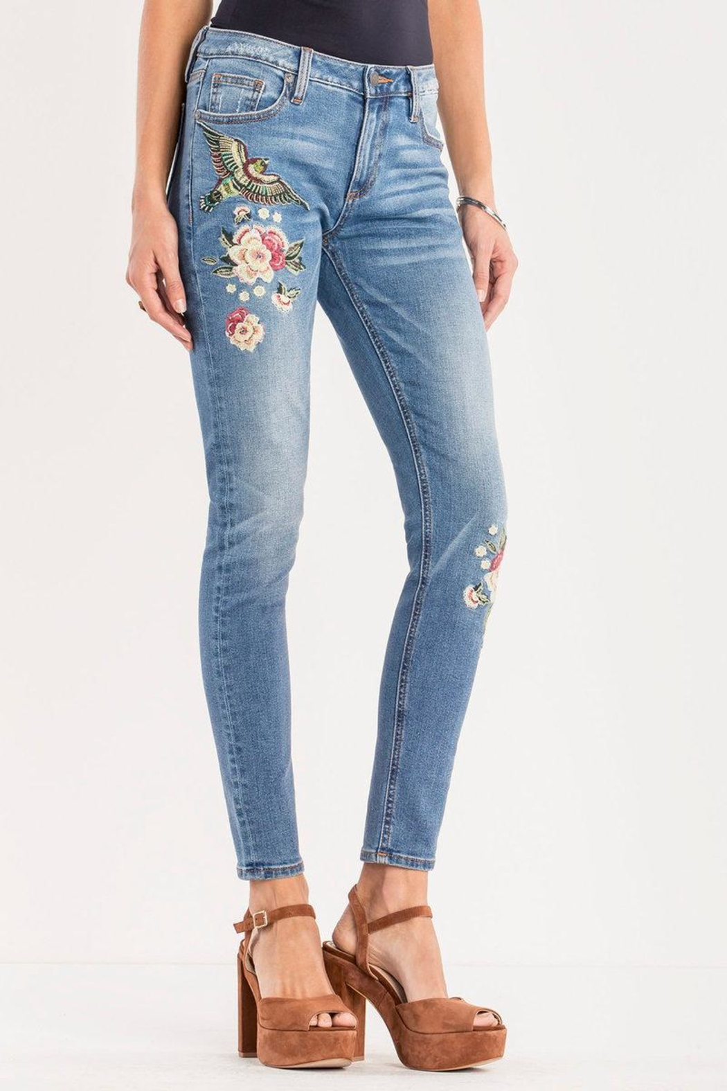 Miss Me Floral-Embroidered Midrise Skinny - Front Full Image
