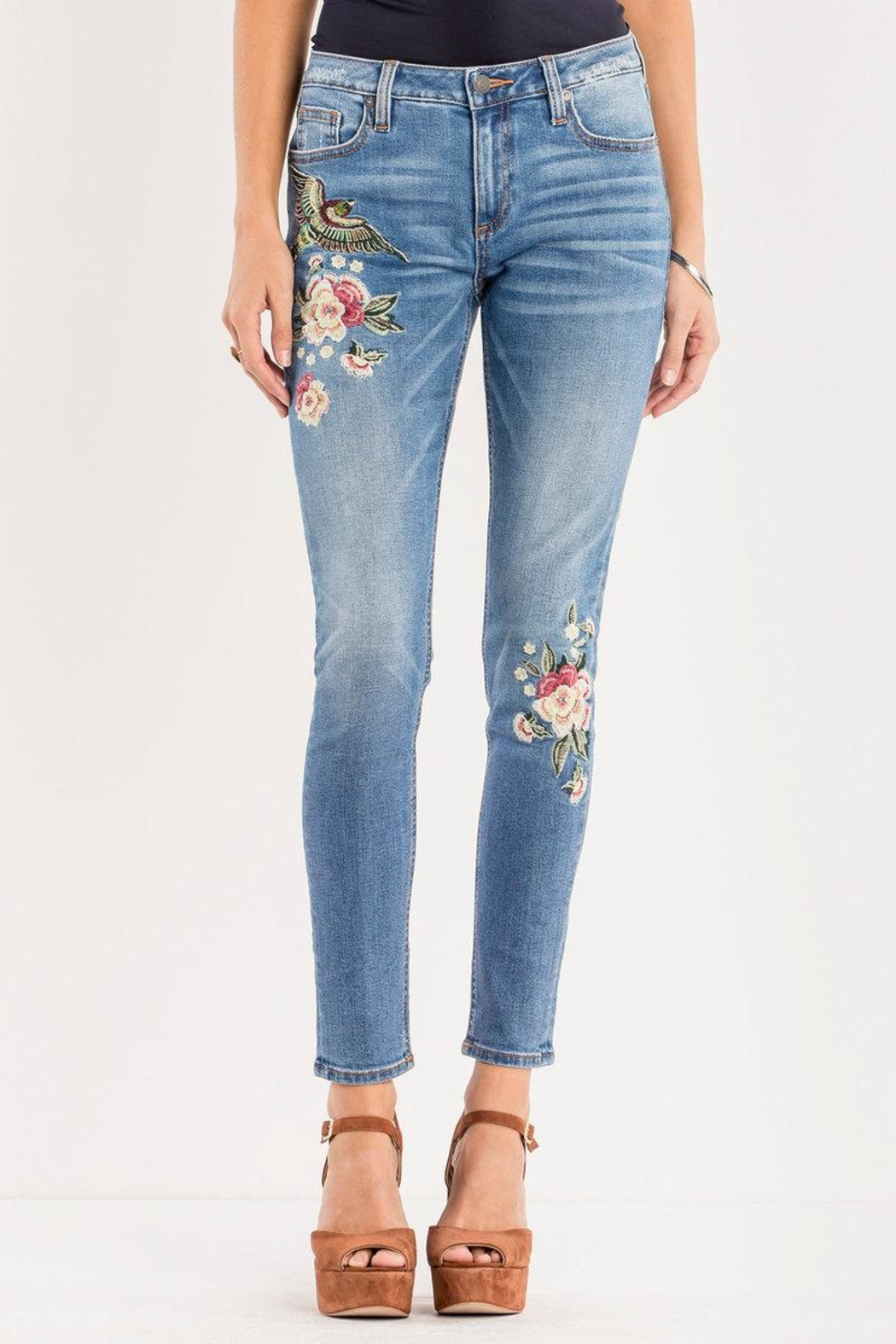 Miss Me Floral-Embroidered Midrise Skinny - Main Image