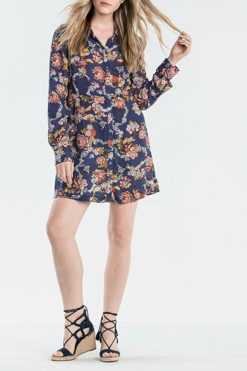 Miss Me Floral Shirt Dress - Back Cropped Image