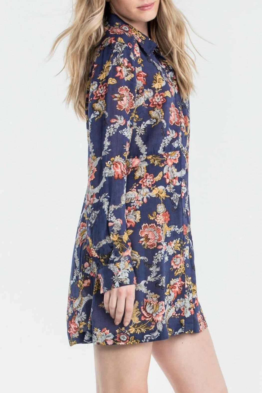 Miss Me Floral Shirt Dress - Front Full Image