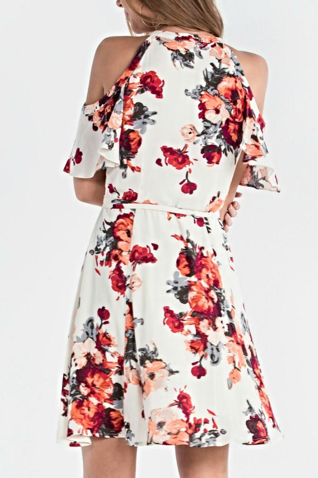 Miss Me Floral Wrap Dress - Front Full Image