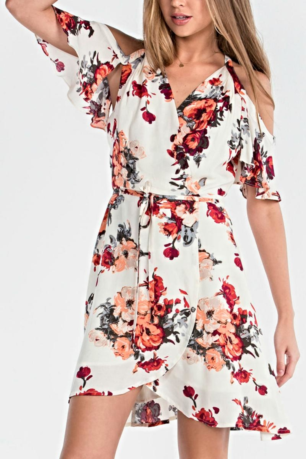 Miss Me Floral Wrap Dress - Front Cropped Image