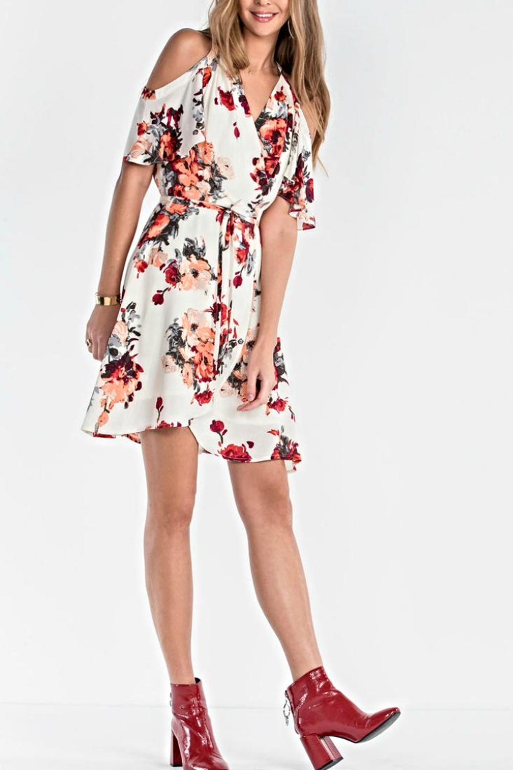 Miss Me Floral Wrap Dress - Side Cropped Image
