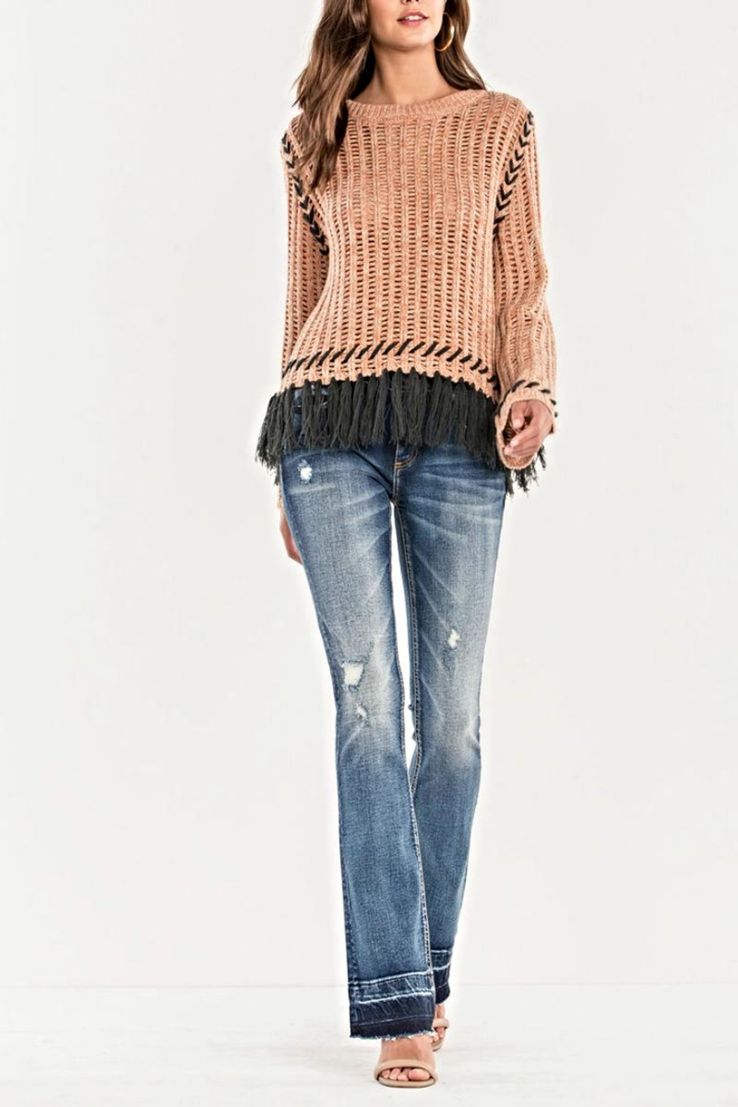 Miss Me Fringe Knit Sweater - Front Cropped Image