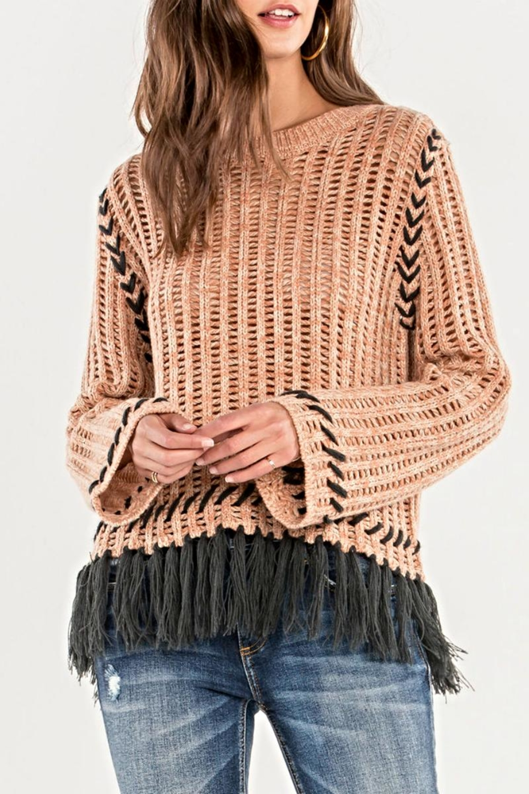 Miss Me Fringe Knit Sweater - Main Image