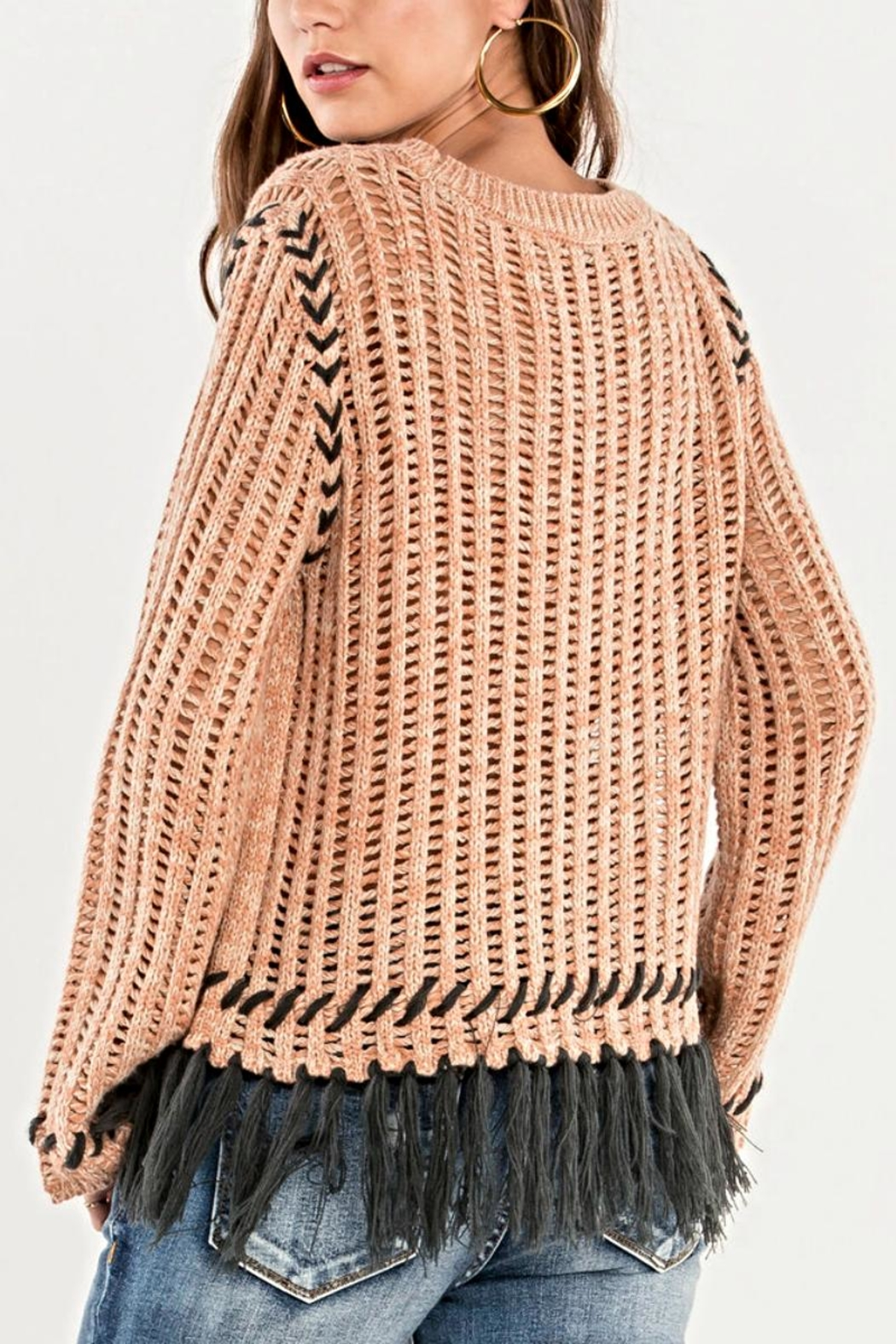 Miss Me Fringe Knit Sweater - Side Cropped Image
