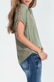 Miss Me Green Macrame Detailed Tee - Back cropped