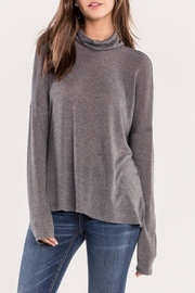 Miss Me Grey Cutout-Back Turtleneck - Front full body