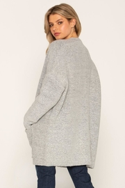 Miss Me Grey Fuzzy Cardi - Front full body