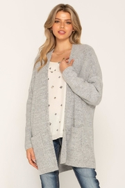 Miss Me Grey Fuzzy Cardi - Front cropped