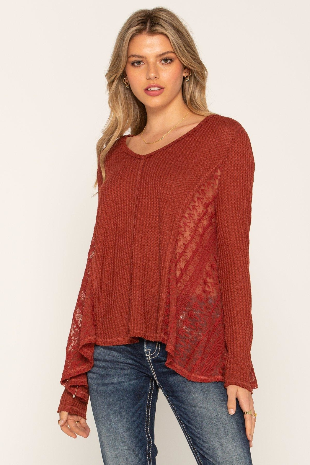 Miss Me Lace Rust Swing Top - Main Image