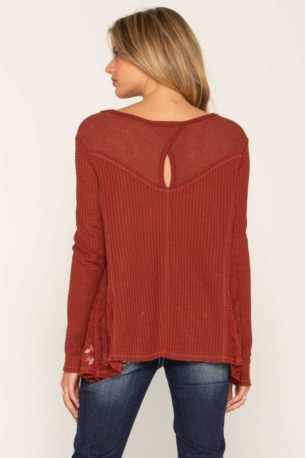 Miss Me Lace Rust Swing Top - Front Full Image