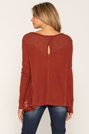 Miss Me Lace Rust Swing Top - Front full body