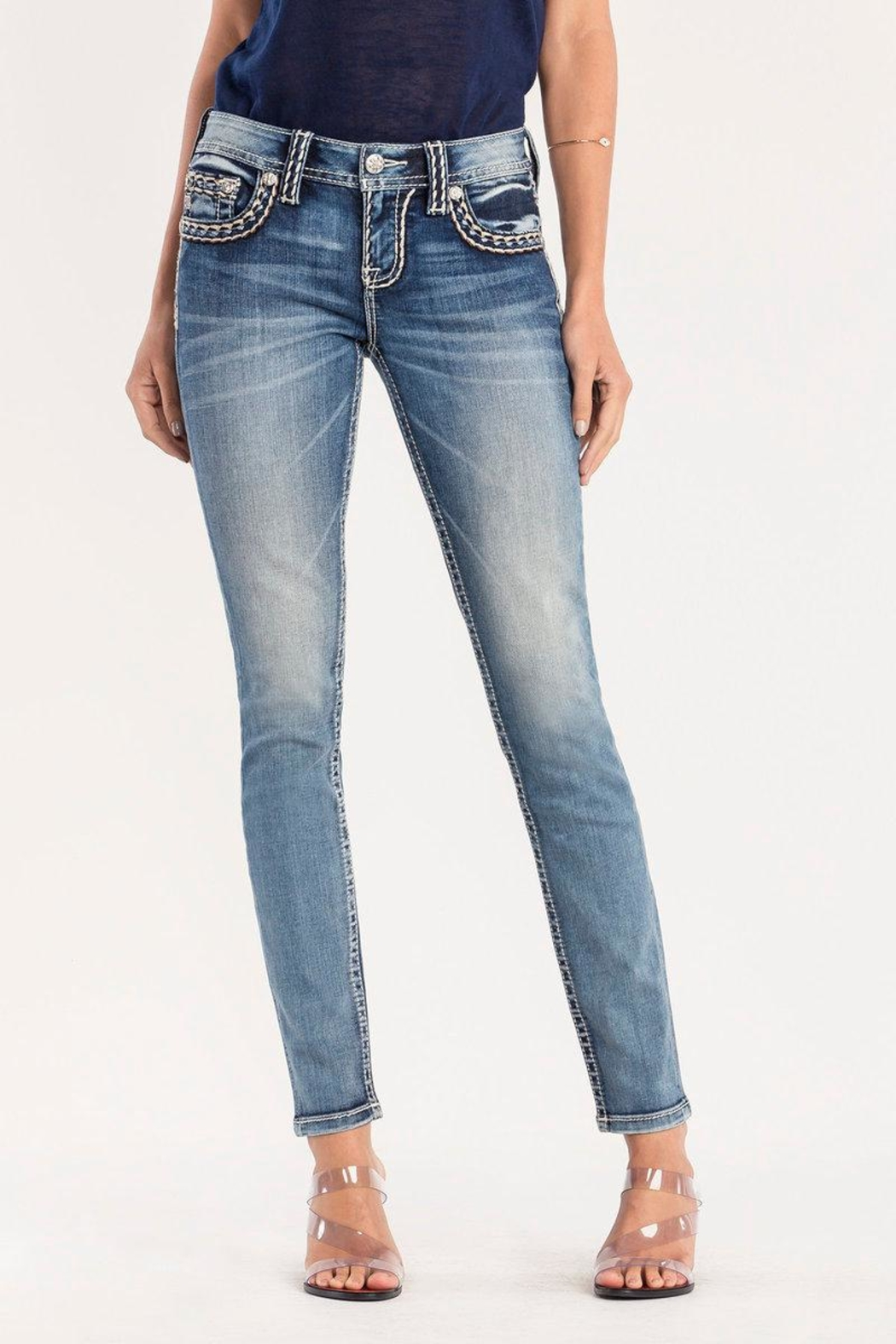 Miss Me Pick Stitch Skinny Jeans - Front Full Image
