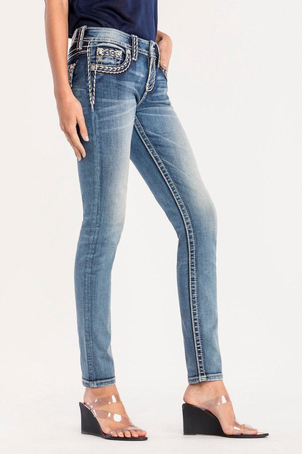 Miss Me Pick Stitch Skinny Jeans - Side Cropped Image