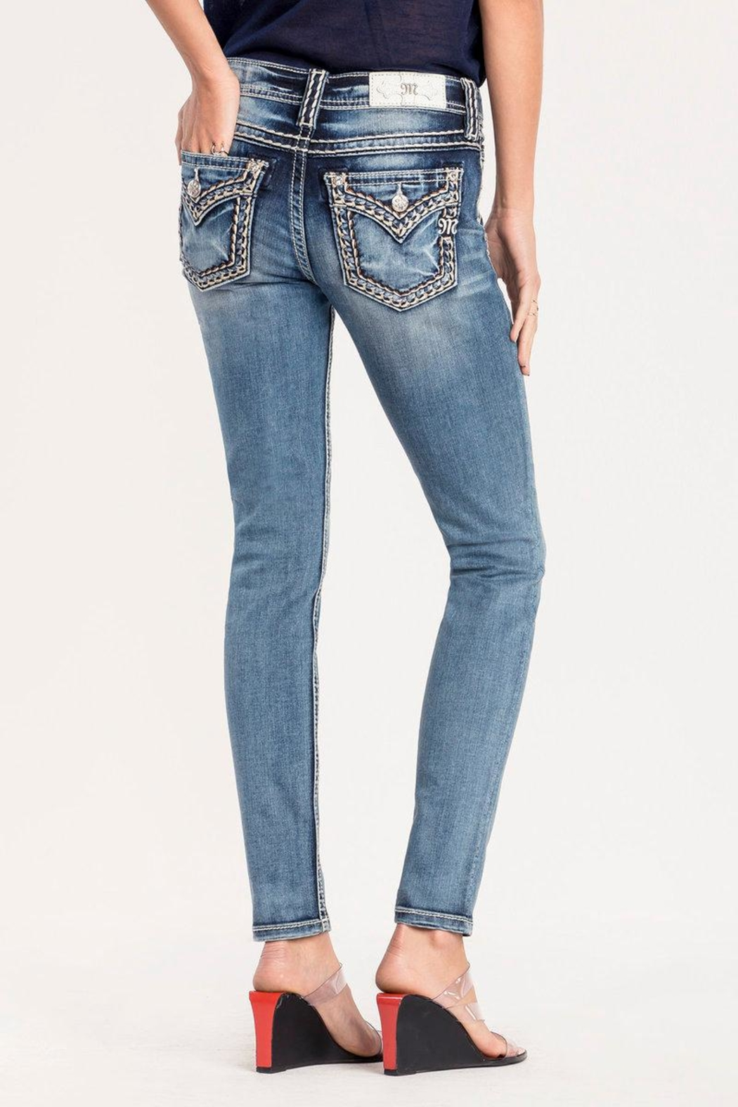 Miss Me Pick Stitch Skinny Jeans - Front Cropped Image