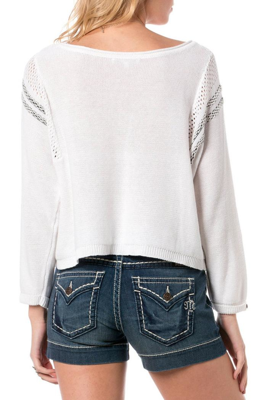 Miss Me Mixed Mania Sweater - Back Cropped Image