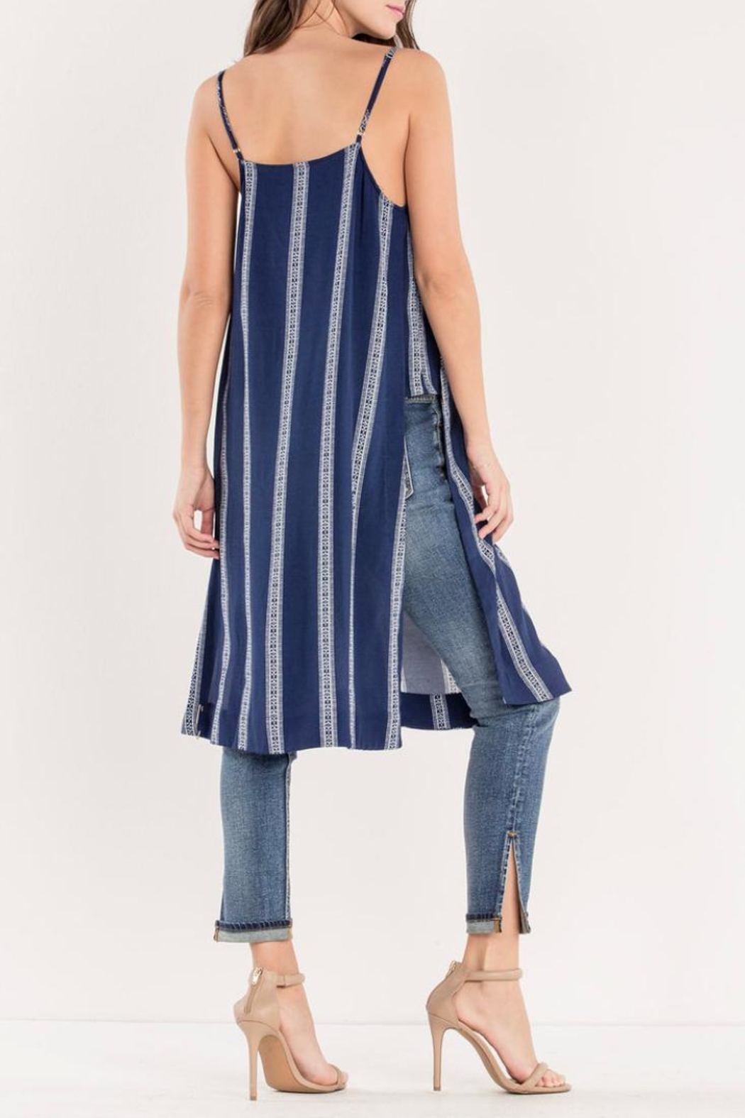 Miss Me Navy Striped Maxi-Tank - Back Cropped Image