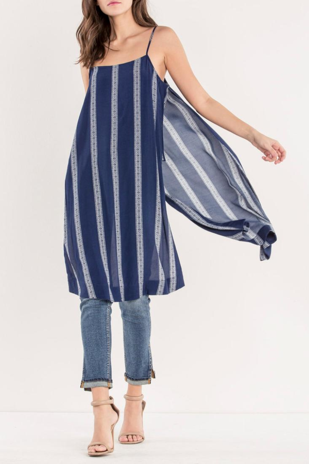 Miss Me Navy Striped Maxi-Tank - Main Image