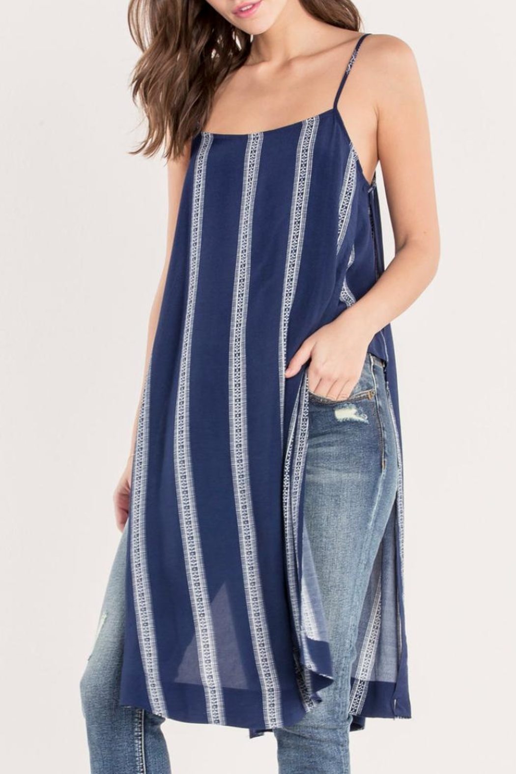 Miss Me Navy Striped Maxi-Tank - Front Cropped Image
