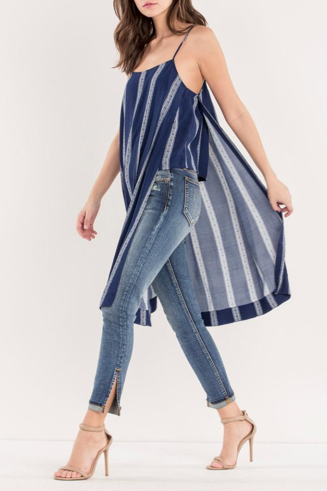 Miss Me Navy Striped Maxi-Tank - Side Cropped Image
