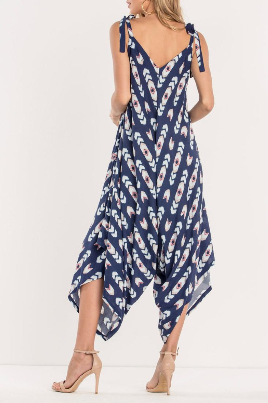 Miss Me Navy Tribe Jumpsuit - Front Full Image