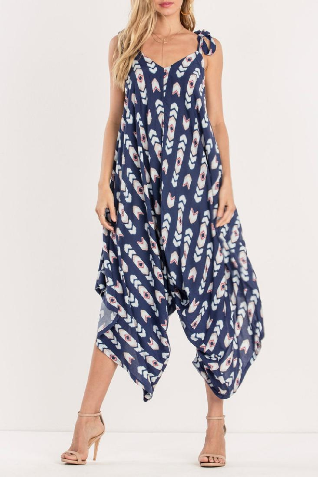 Miss Me Navy Tribe Jumpsuit - Main Image