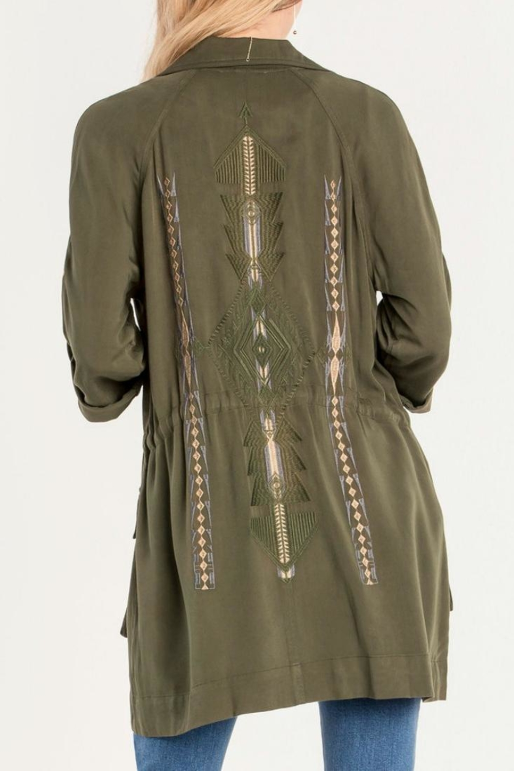 Miss Me Olive Embroidered Utility Jacket - Front Cropped Image