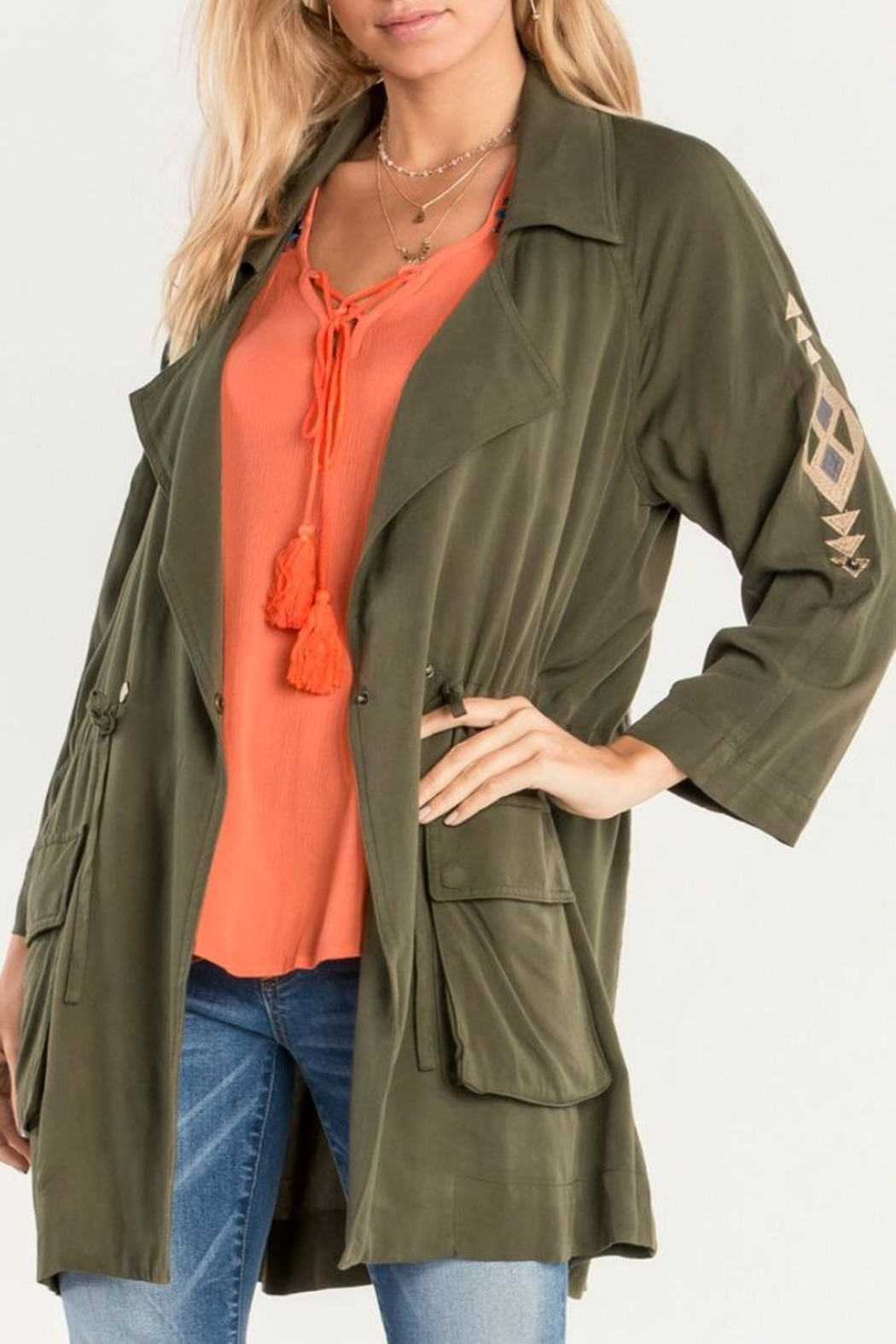 Miss Me Olive Embroidered Utility Jacket - Front Full Image