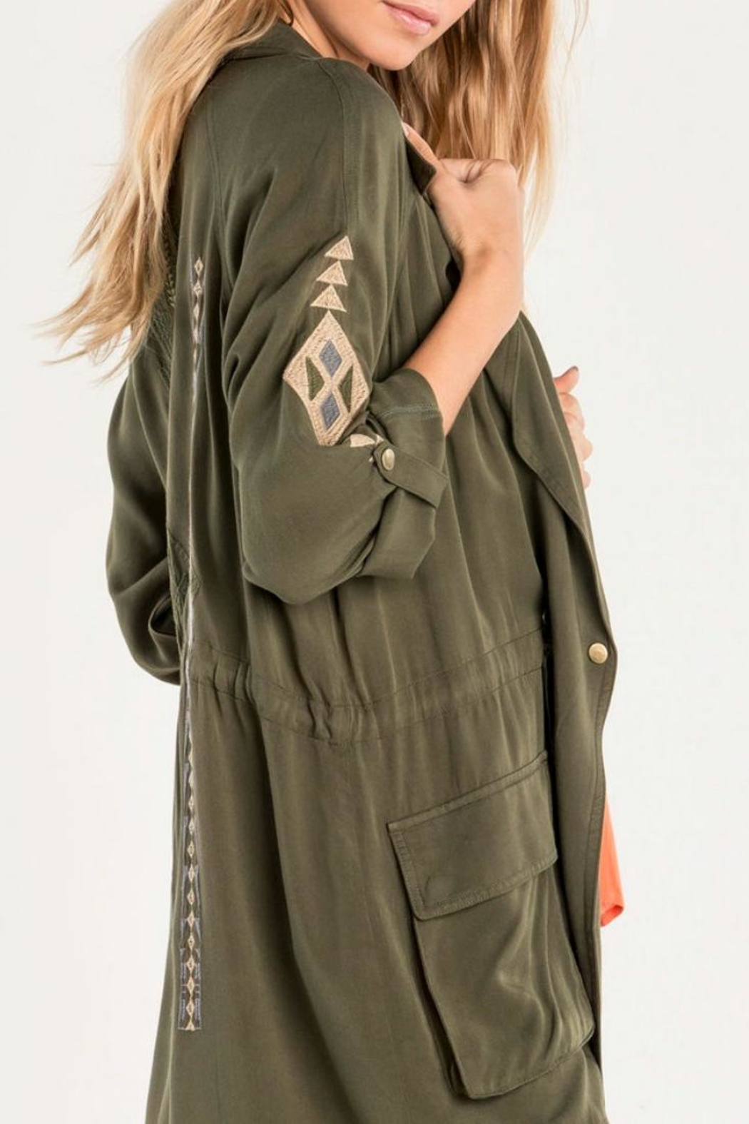 Miss Me Olive Embroidered Utility Jacket - Back Cropped Image