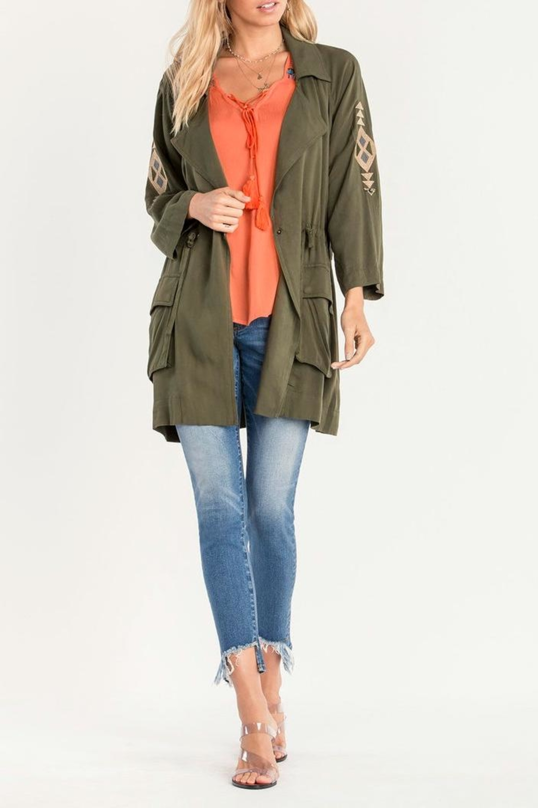Miss Me Olive Embroidered Utility Jacket - Side Cropped Image