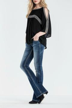 Shoptiques Product: Embroidered Open Shoulder Top
